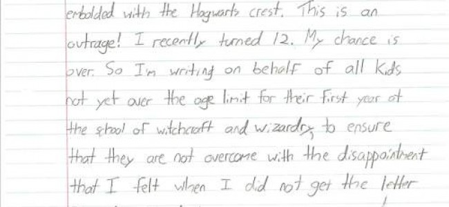 Twelve Year Old Writes Mr. Dumbledore